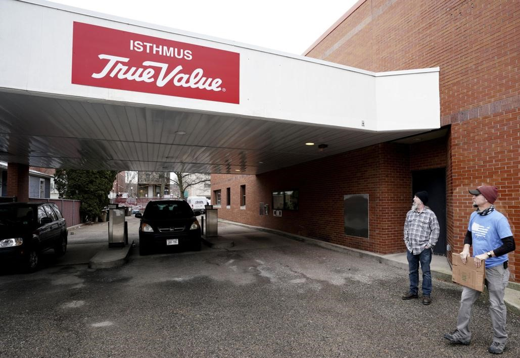 Greg Norman, left, and Jason Shaw are opening Isthmus True Value, which features a drive-thru. Photo credit: Steve Apps, Wisconsin State Journal.