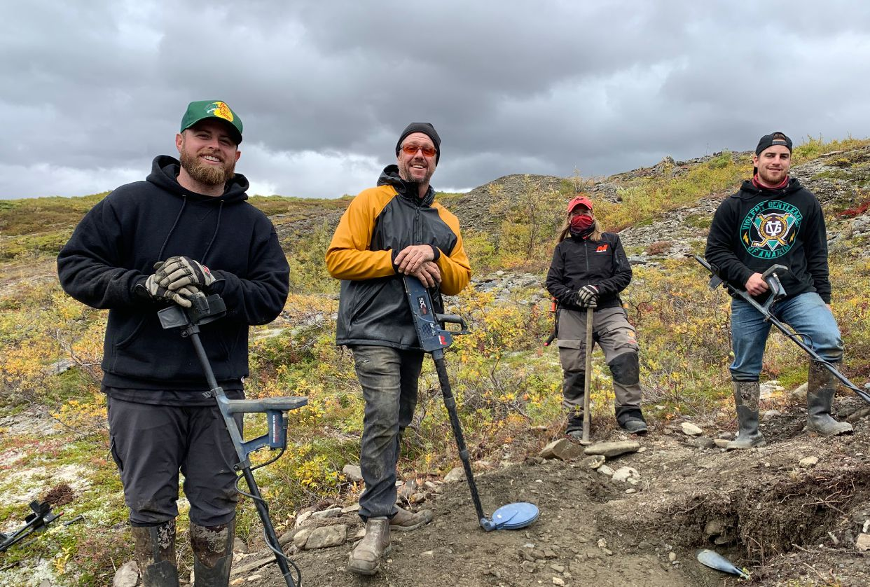 FROM LEFT TO RIGHT, SAM, AUGIE, DEBBIE, AND BRIAN OUT DETECTING SOME TAILINGS PILES. PHOTO BY MIKE SLATER