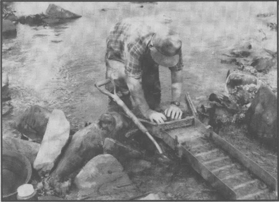 Maxie Ellenburg sets up a sluice, preparing to pan for gold. Phalo lay Mabel H. Cox