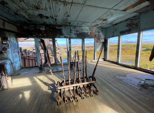 INSIDE THE CONTROL TOWER ON THE DREDGE. PHOTO BY SAM SERVETTER