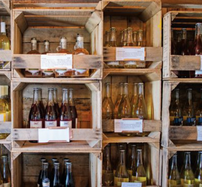 Distillery Lane's products are bottled by hand and are availablefor sale in the tasting room area.