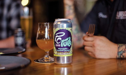 PC Funk, the toasted coconut Berliner Weisse, was paired with the dessert of crispy pineapple with guava gel.