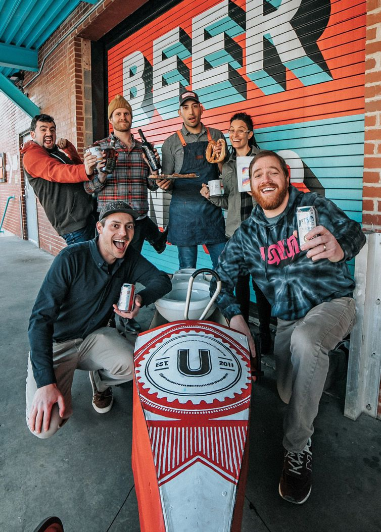 Collective crew, clockwise from bottom right, Union Craft Brewing founders Adam Benesch and Jon Zerivitz, The Charmery's David Alima, Max Lents of Baltimore Spirits Co., Ryan Bower of Well Crafted Kitchen, and Vent owner Sarah Walker.