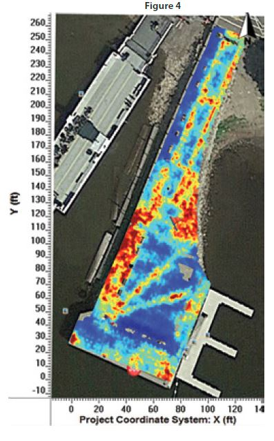 (Figure 4) The 5.5 foot depth slice shows strong reflections from boulders and cobbles deep below the pier, under the interlocking brick. These areas showed the deepest GPR penetration.