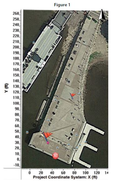 (Figure 1) Aerial view of the pier showing many obstacles.