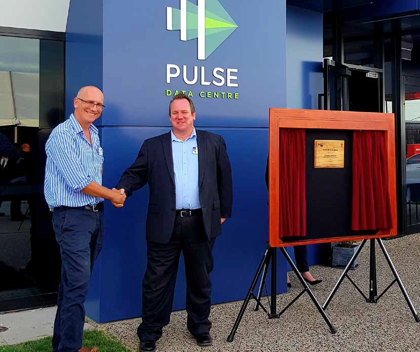 Ed George, Polyfabrics & Matt Van Hecke, CEO of Torus Networks at the Pulse Data Centre opening in April 2018