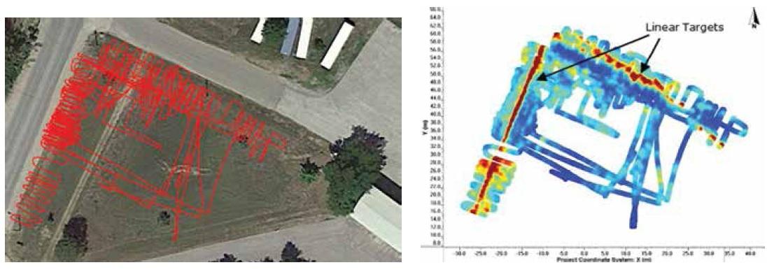 Figure 5: Collecting GPR data in a pseudo-grid, using an accurate GPS for positioning (left) is another way to generate depth slices that reveal utilities at different depths (right).