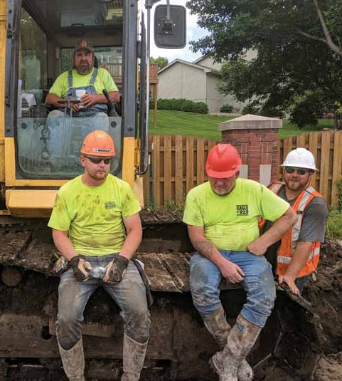 Judds Brothers Construction employees participate in training on shoring and how a successful trench is made and maintained.