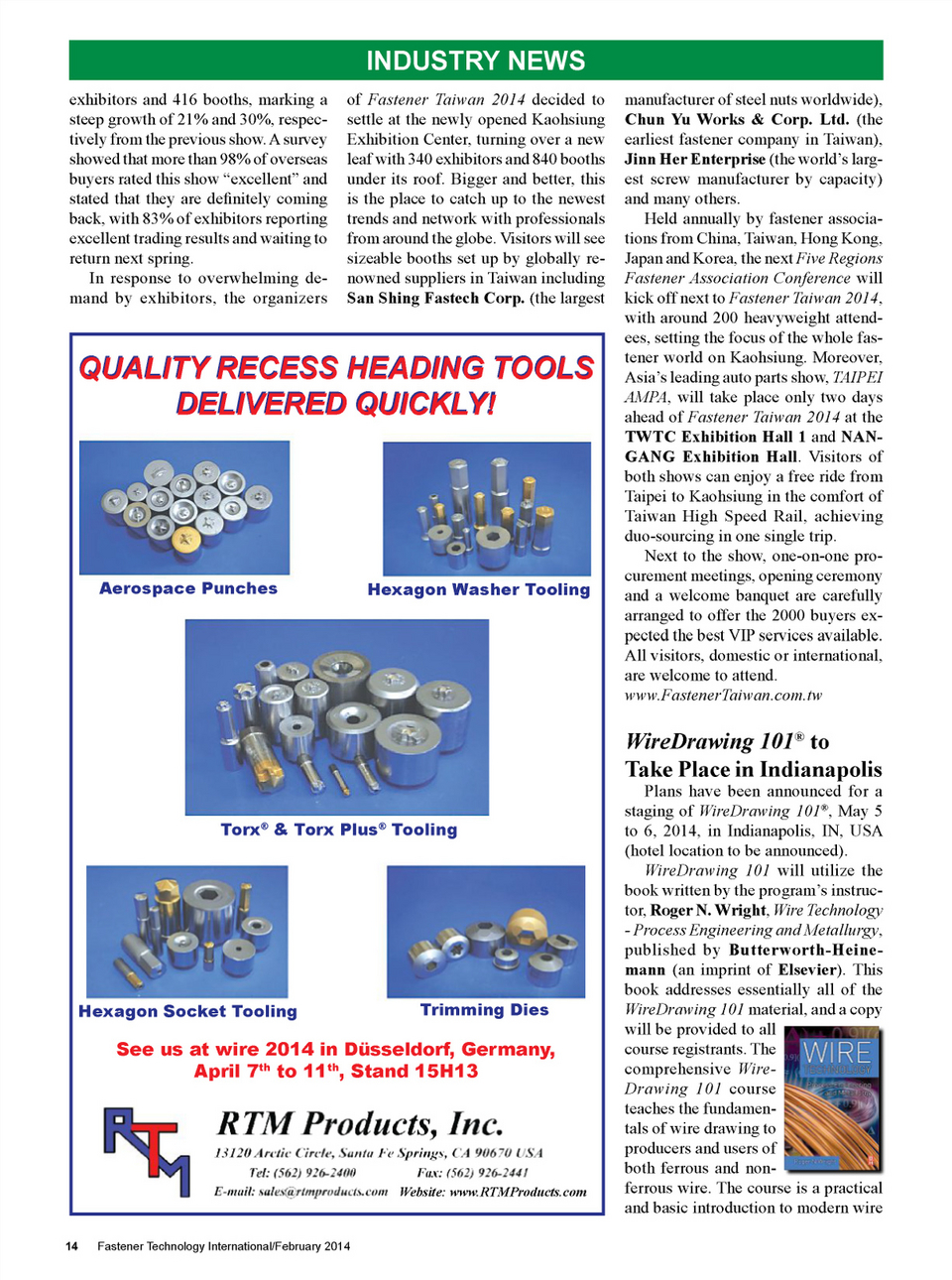 Fastener Technology International February/March 2014 Page 14
