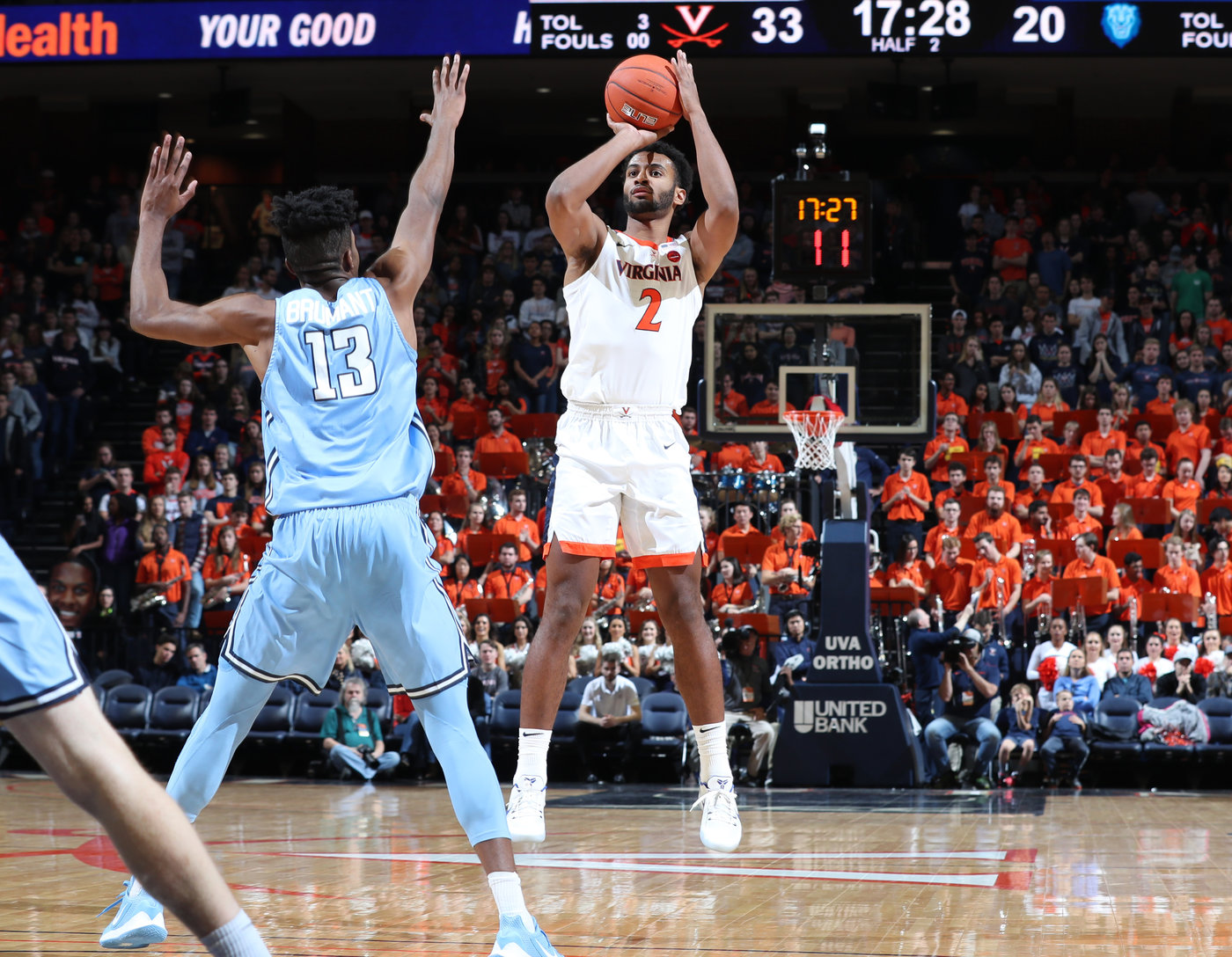 Despite missing three games due to a wrist injury, guard Braxton Key ranked second on the team in scoring (9.8 points per game) and was the team's leading rebounder (7.2 boards per contest). (photo by Matt Riley/courtesy UVA)