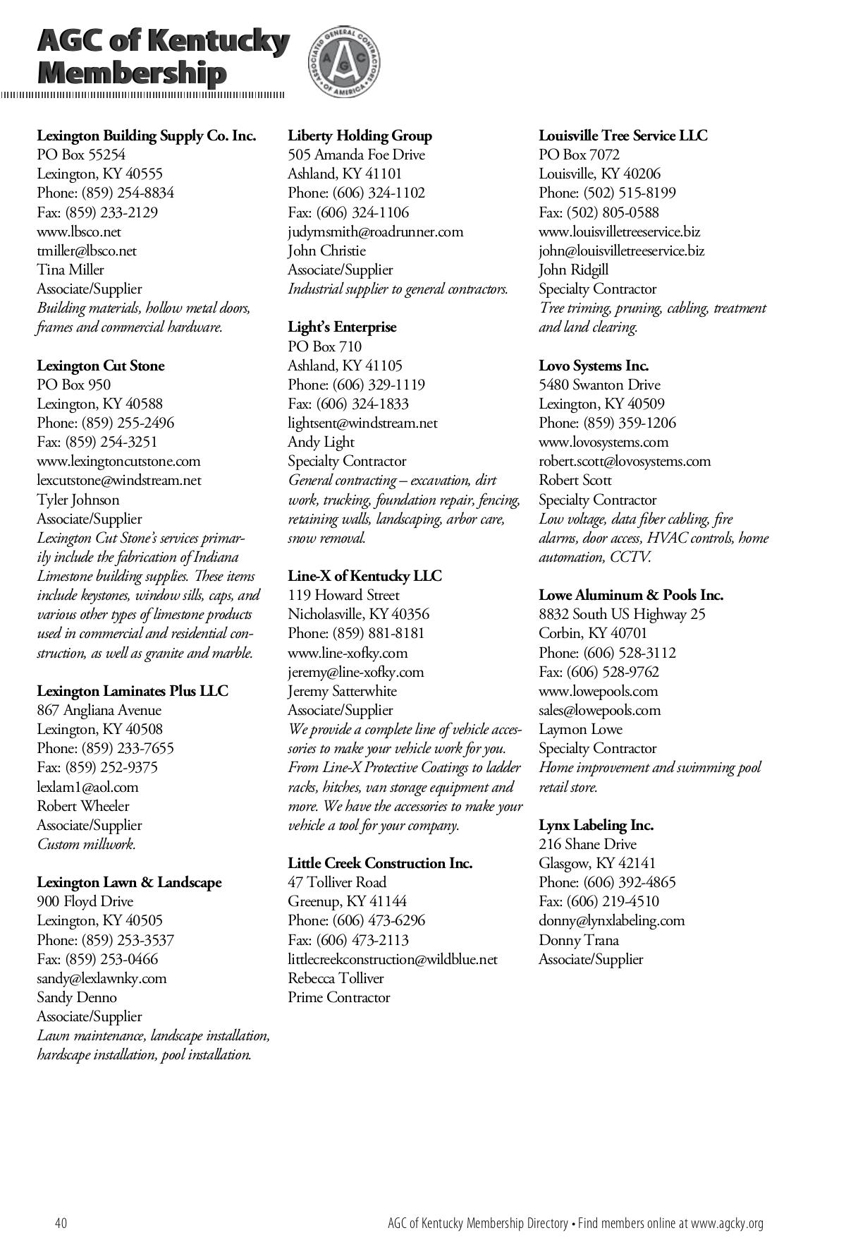 Agc Of Kentucky Membership Directory 2020 2021 Agc Kentucky Directory