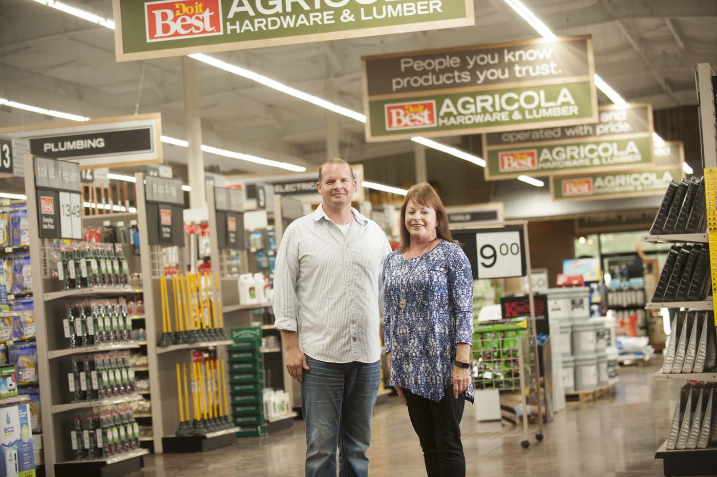 Elliott and Brenda Massey nearly tripled the size of their retail space when they opened a new Agricola Hardware & Lumber store in Lucedale, Miss., in 2016.