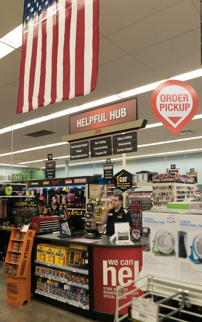 The store's Helpful Hub includes a spot to pick up online orders.