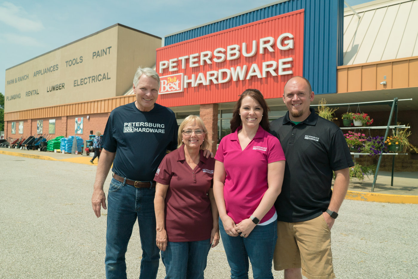 Dennis and Sherry Bishop, along with their daughter Robin Smith and her husband Eric, have hit a home run with the new, larger version of Petersburg Do it Best Hardware.
