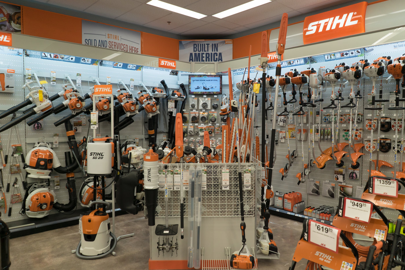 What used to be the photo department at Walgreens has been transformed into sales and service for Stihl outdoor power equipment.