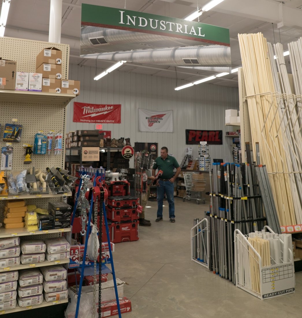 Industrial sales—a key part of the business—are handled in a separate space.