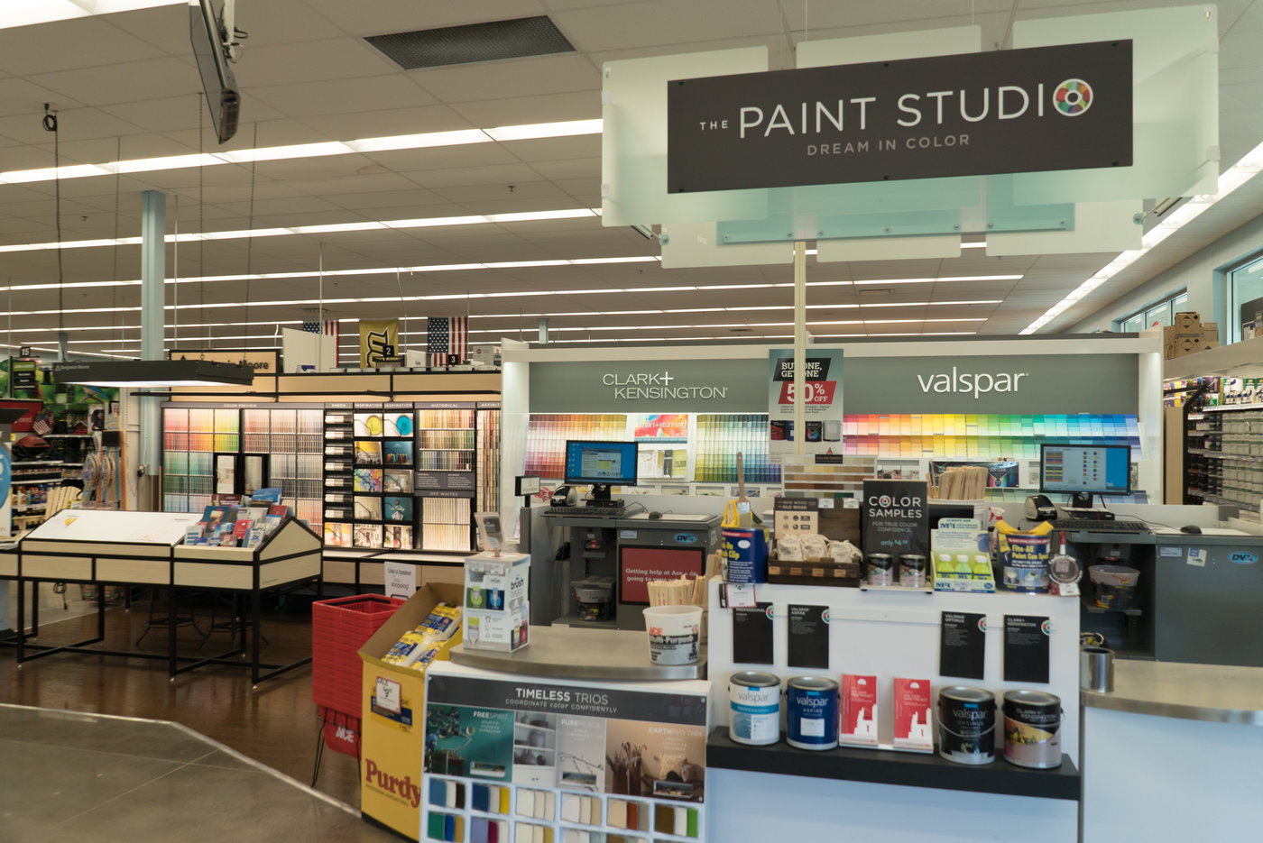 The paint department features Ace's traditional lines and Benjamin Moore as a premium offering.