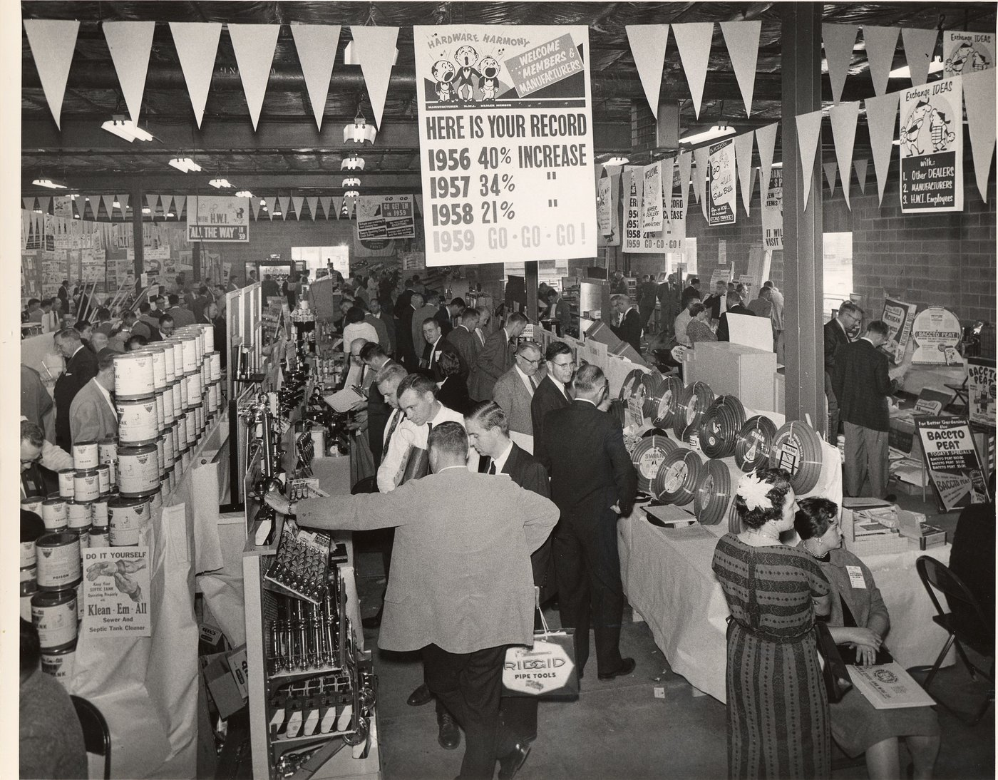 The co-op's buying market was held in the Fort Wayne warehouse for the last time in 1958, moving next to the Fort Wayne War Memorial Coliseum.