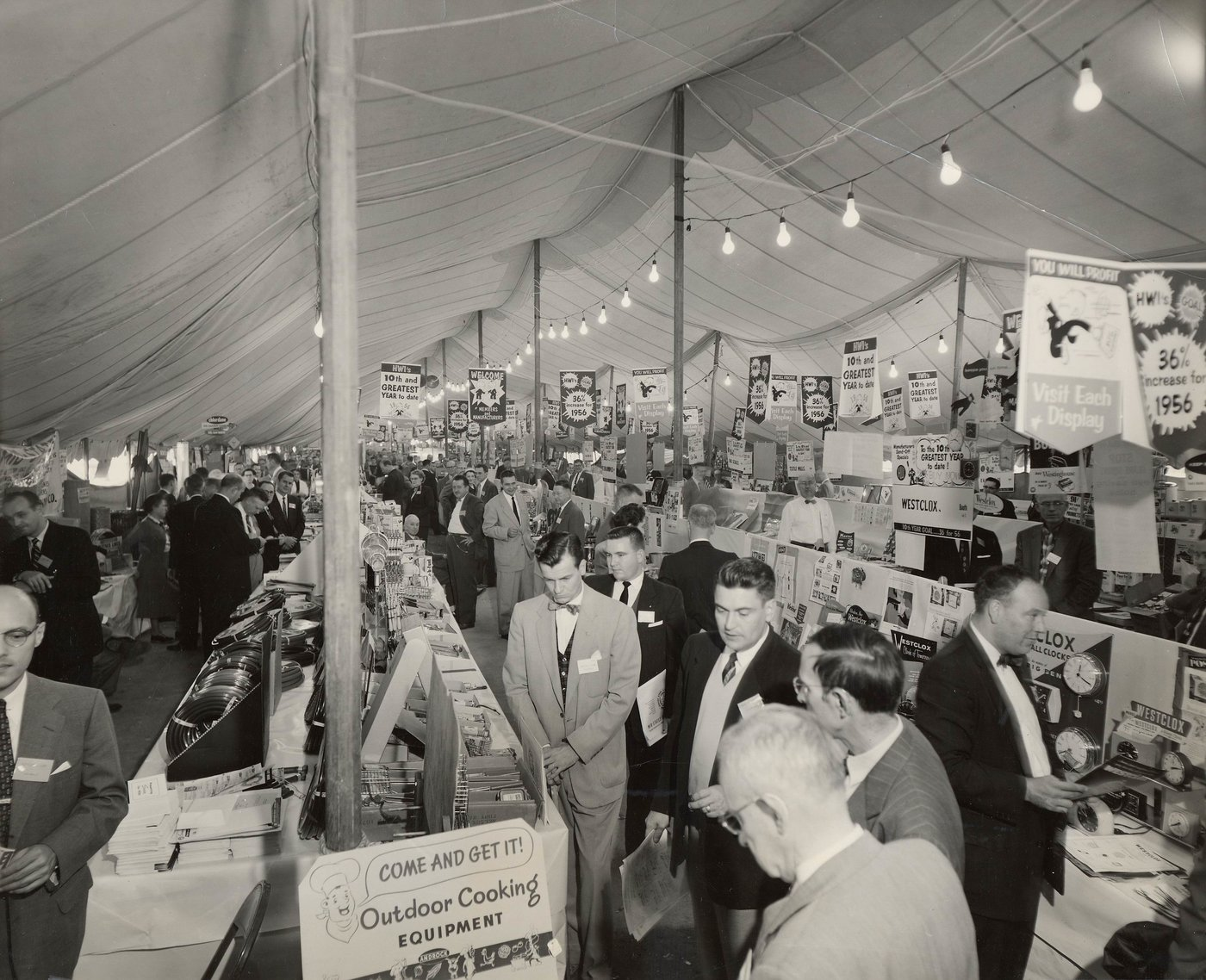 The 1955 buying market was held in a big tent in the parking lot of HWI's warehouse facility.