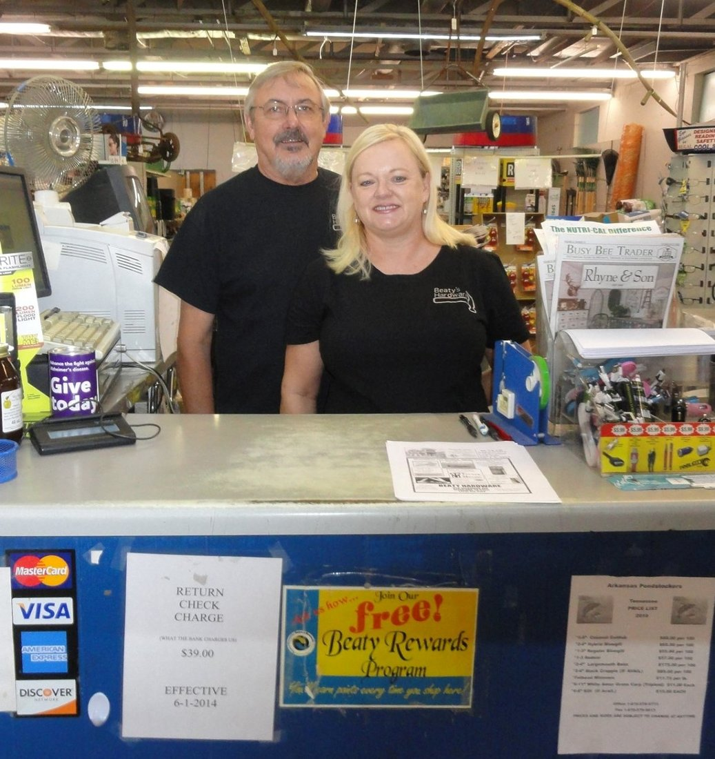 Kenneth and Donna Malone are the owners of Beaty Hardware.