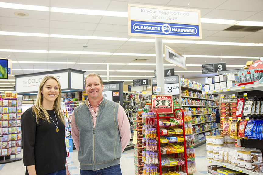 Meg Taylor of Taylor's Do it Centers and Darrell Campbell of Pleasants Hardware are proud of the new Pleasants store that opened in early January in Mechanicsville, Va.