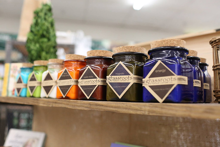 Handmade soy candles are among the Mississippi-made items on display.