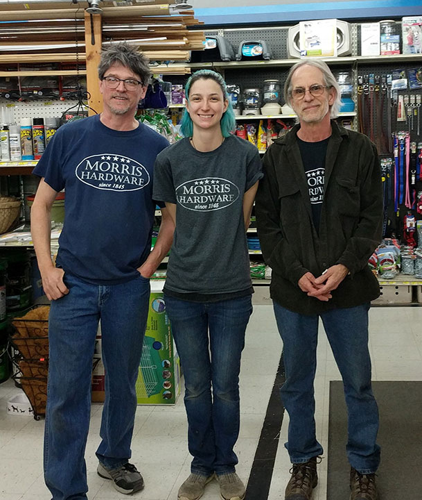 The management team of Morris Hardware includes, left to right: John Houser, Shayna Roberts and Tom Schanken.