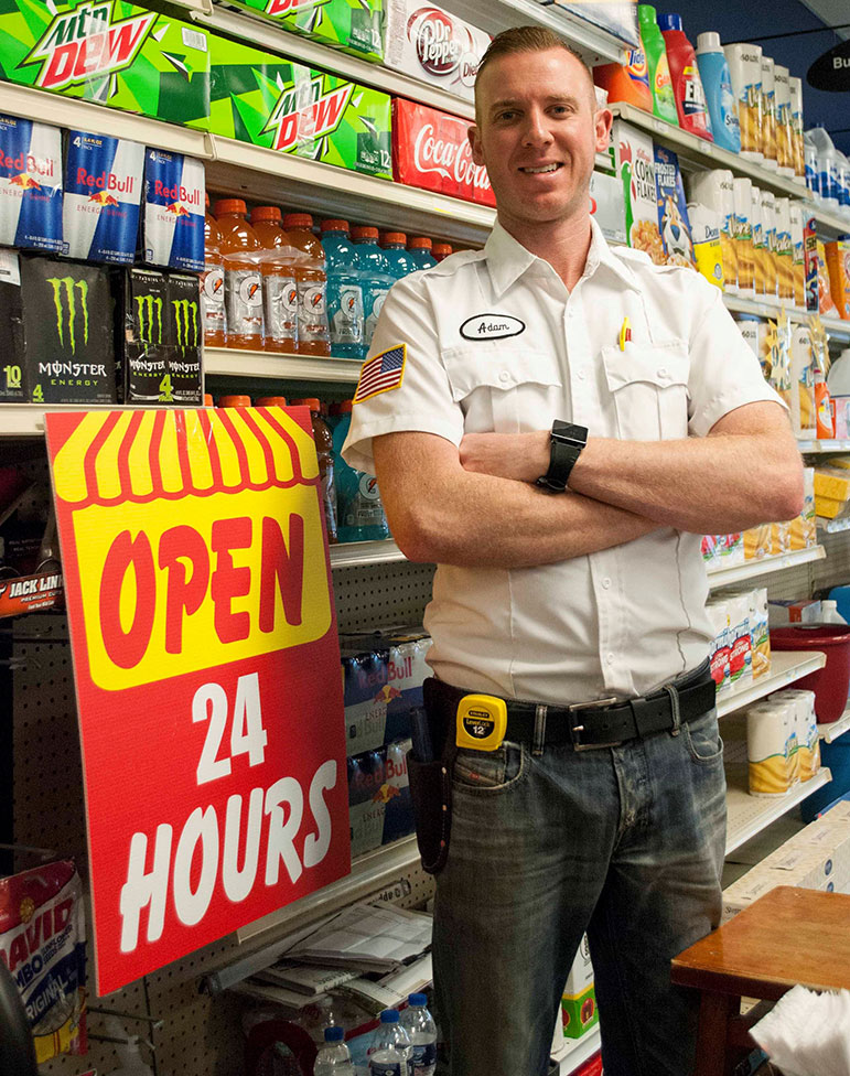 Adam Taylor has seen business pick up significantly at Trust Hardware in Indianapolis because he stays open 24 hours a day.