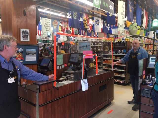 The crew at Jack's Country Store designed and built coronavirus cashier shields out of on-hand hardware items.