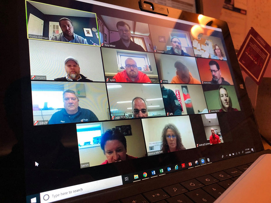 Gillman Home Centers now holds quarterly managers' meetings via Zoom.
