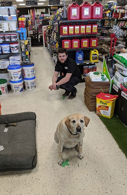 Roscoe, the store mascot for Trust Hardware, demonstrates how to practice social distancing with employee James.