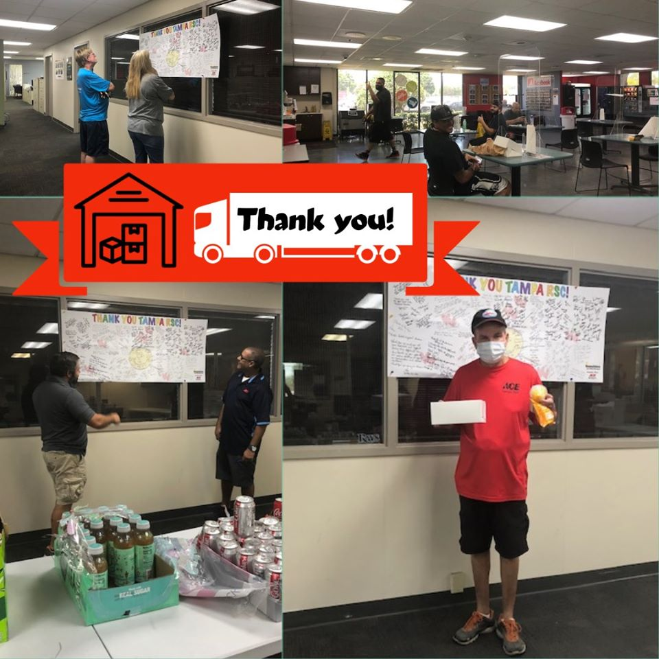 The team at Sunshine Ace showed appreciation for the hard work of Ace's Retail Support Center in Tampa with a hand-signed thank you letter and by buying lunch for the entire RSC team.