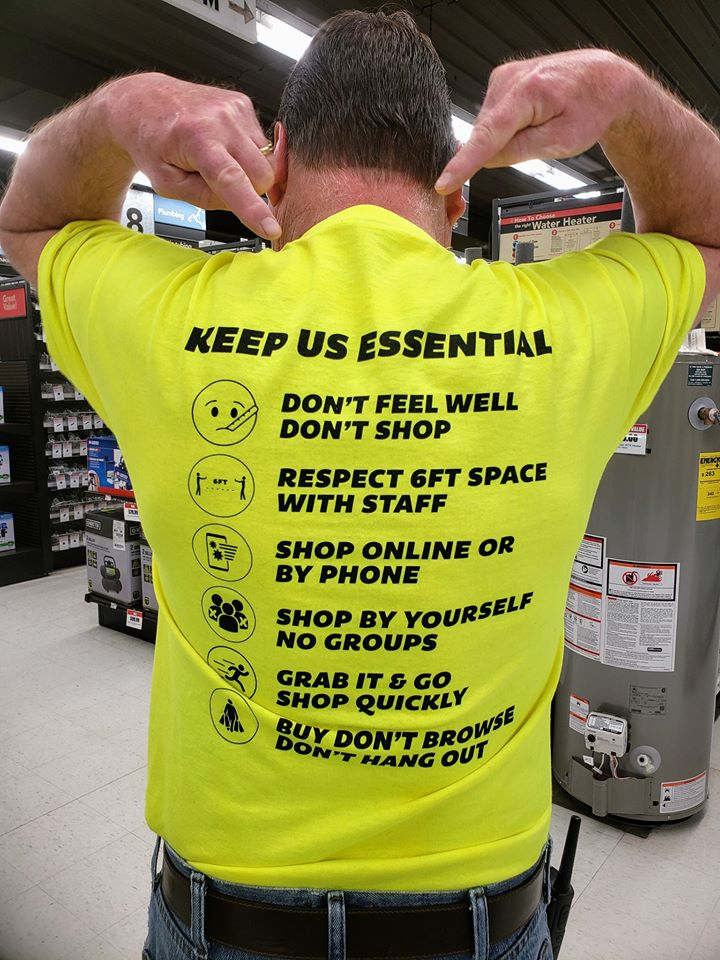 Staff at Marv's True Value and Rental in Princeton, Minn., wear shirts that stress safety tips.