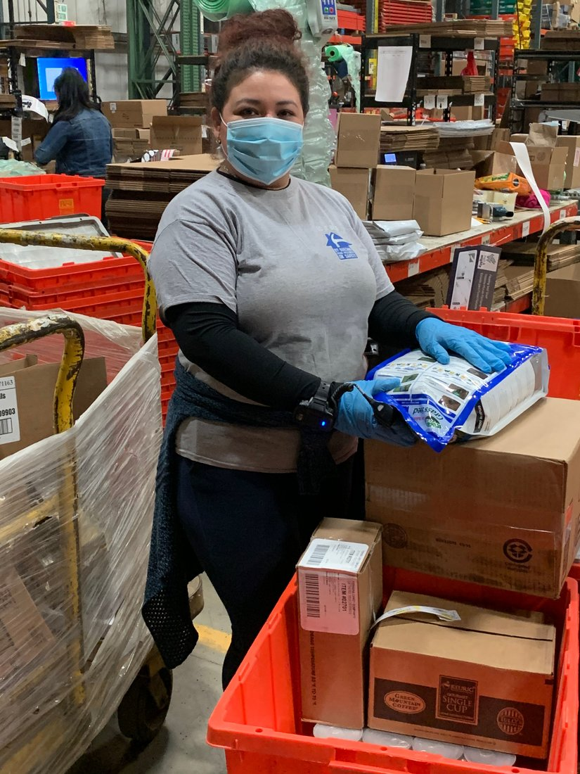 Some team members in Do it Best's Retail Support Center in Montgomery, N.Y., feel more comfortable wearing masks.