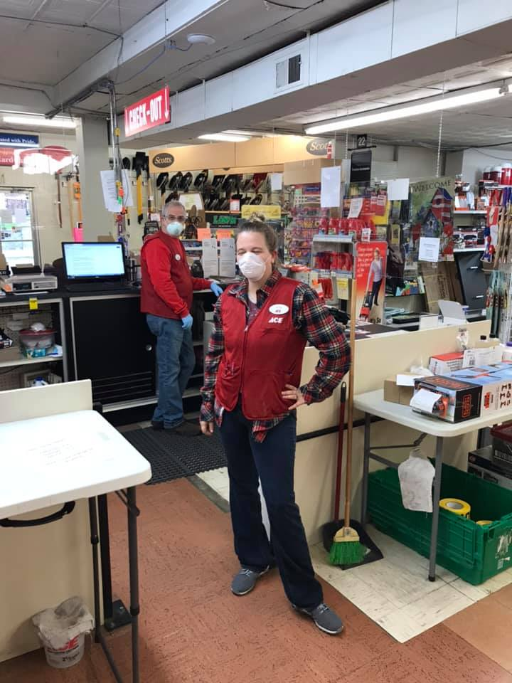 Employees at Plummer's Ace have been wearing masks since the end of March.