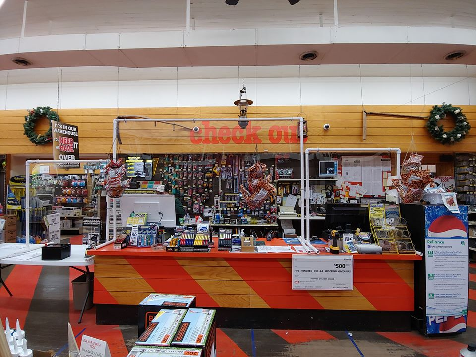 Barone Hardware & Auto installed a plexiglass sneeze shield to protect staff.