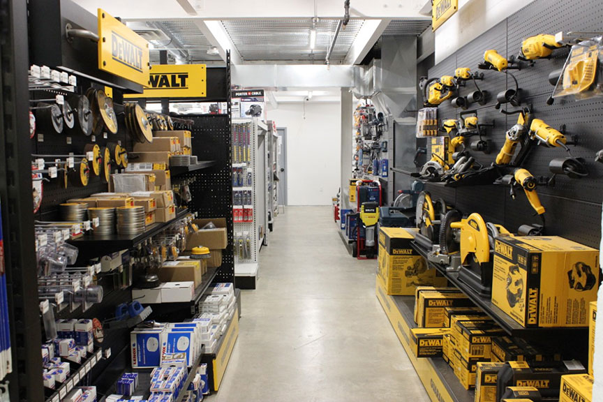 The dominant departments are cutting/drilling, hand tools, fasteners and hardware.