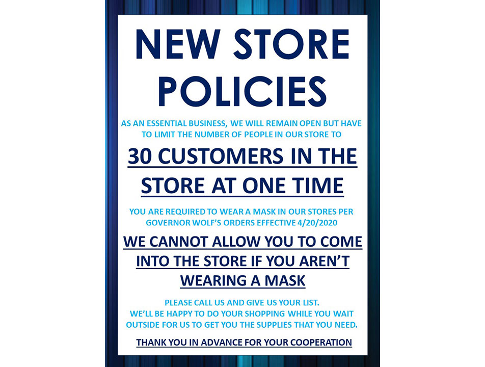 T&M Hardware and Rental uses Facebook to inform customers about changes in store policies during the pandemic.