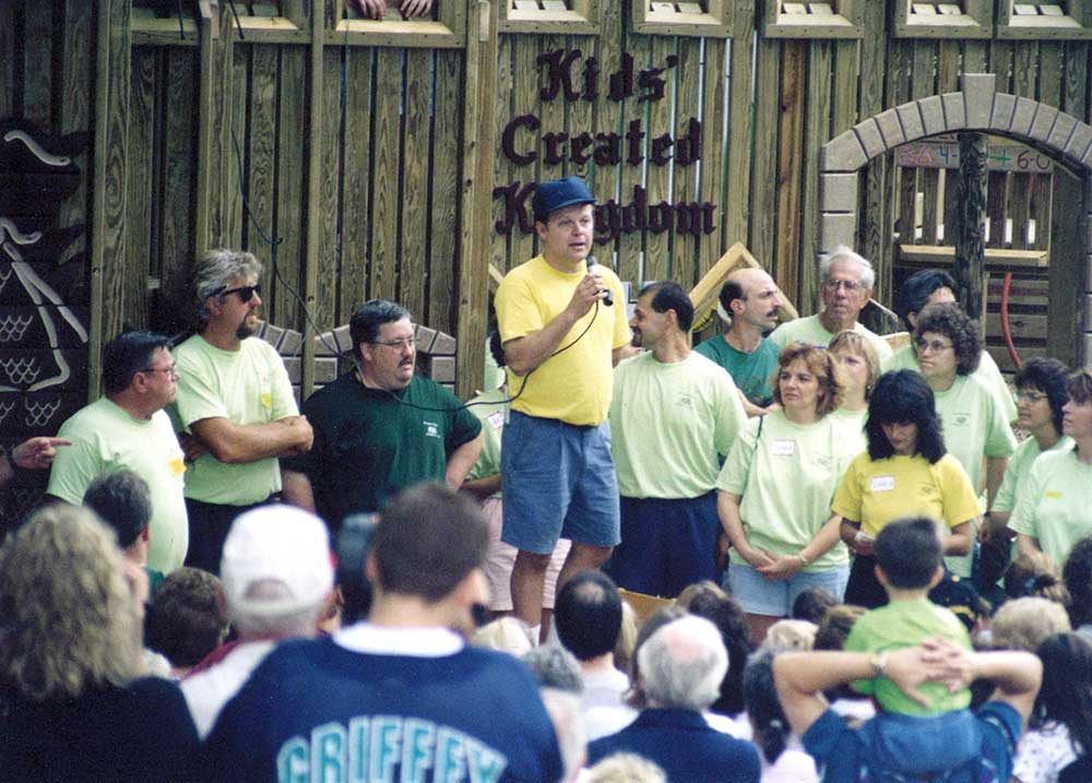 Tim rallied the community to build a playground in Ellwood City in 1998.