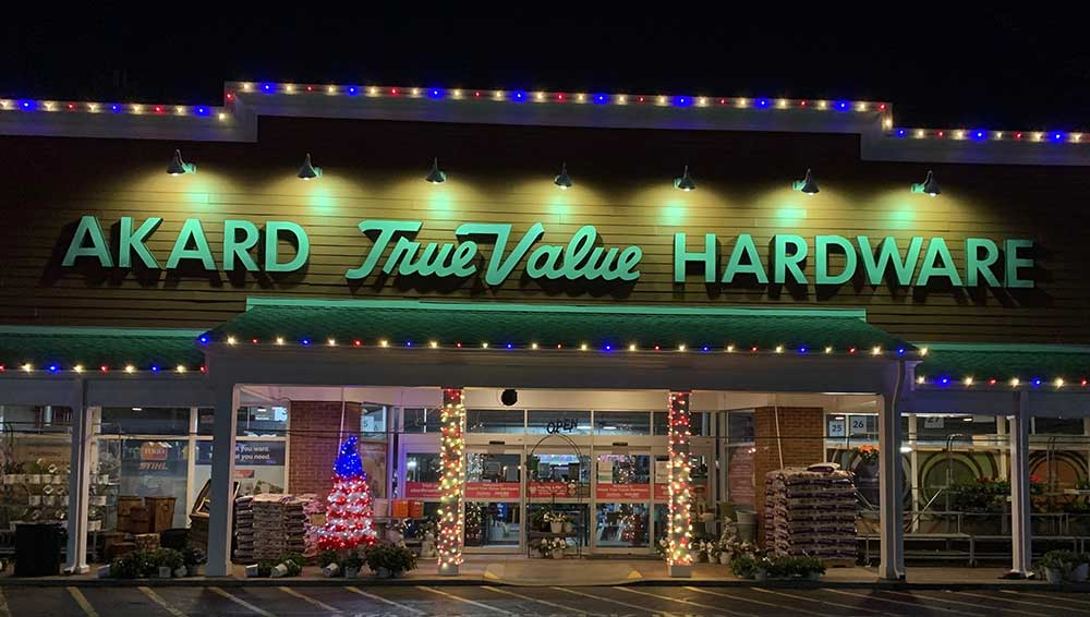 Akard True Value lit up its store front with Christmas lights and tree in March, encouraging people throughout the town to do the same as a way to spread cheer as a stay-at-home order took effect.