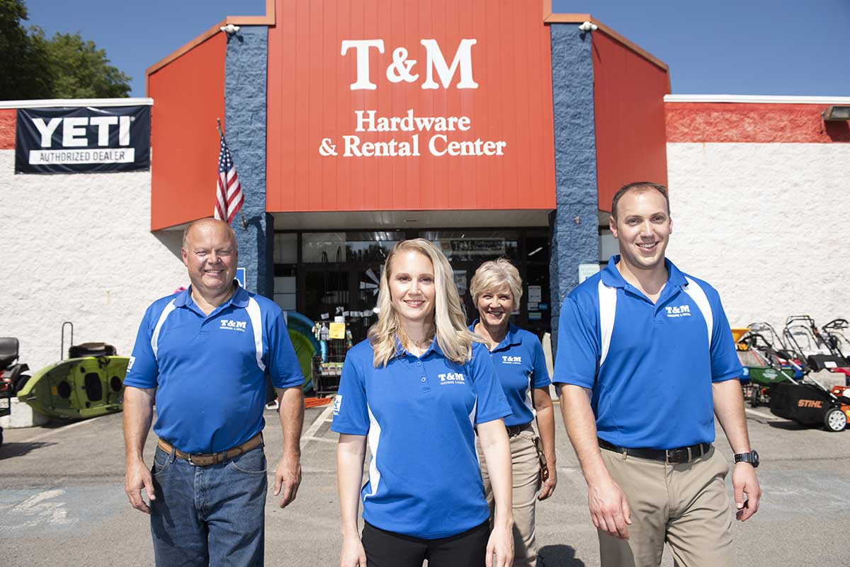 Tim and Mary Post are delighted to see their kids Samantha and Scott join them in the family business, T&M Hardware and Rental.