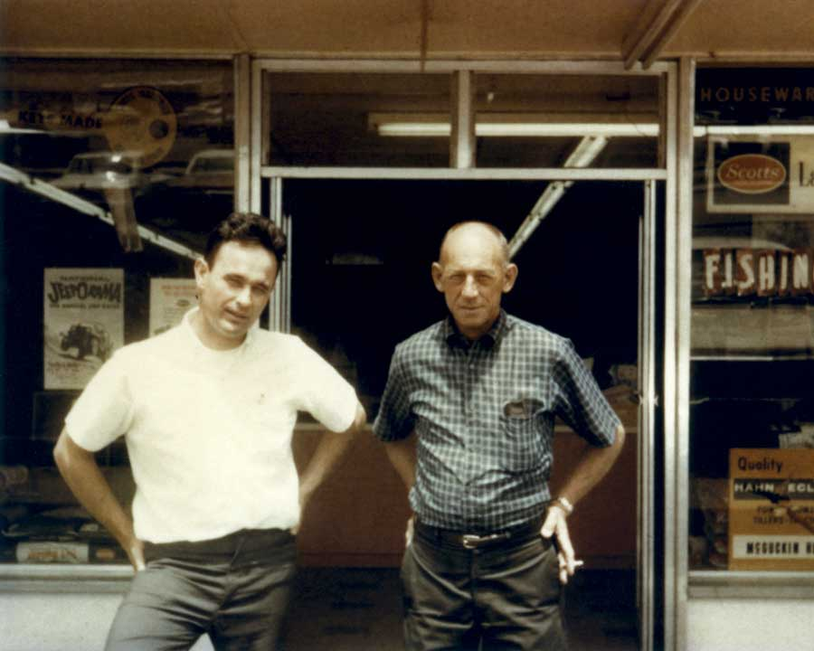 Bill McGuckin (right) founded McGuckin Hardware in 1955, joined by his son-in-law Dave Hight (left) as a partner in 1960. The two focused on personalized service and selection.