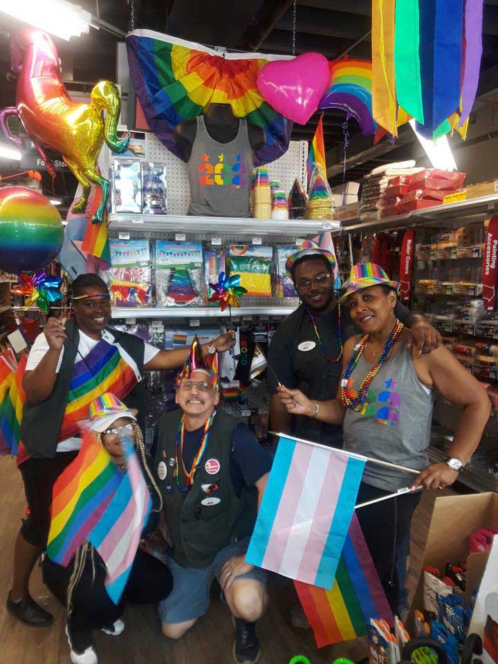 A Few Cool Hardware Store employees get ready for Pride Week at Logan Hardware. The store is located along the annual DC Pride Parade route.
