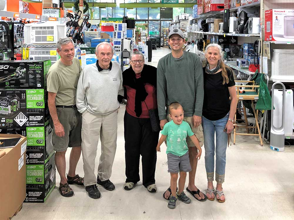From left to right: Barry, Dave, Dee, Jason, Vicki and Everett Hight represent four generations of the family behind McGuckin Hardware.