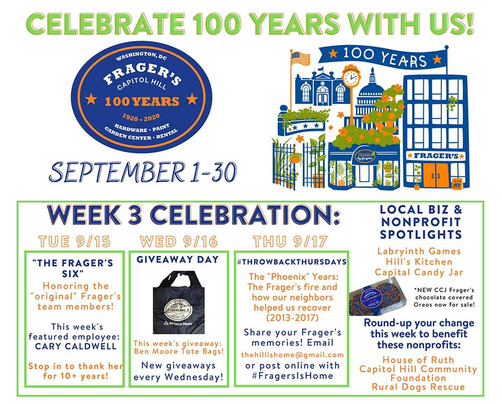 Frager's kept customers informed of the month-long centennial anniversary celebration with frequent posts on Facebook.
