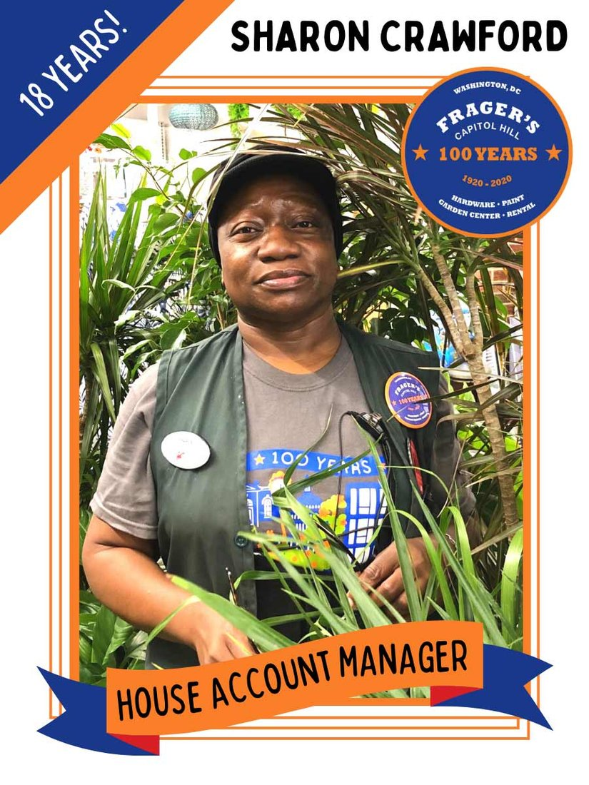 "Sharon Crawford was one of the Frager's Six employees featured in the store newsletter and Facebook page, the team from the ""original"" Frager's."