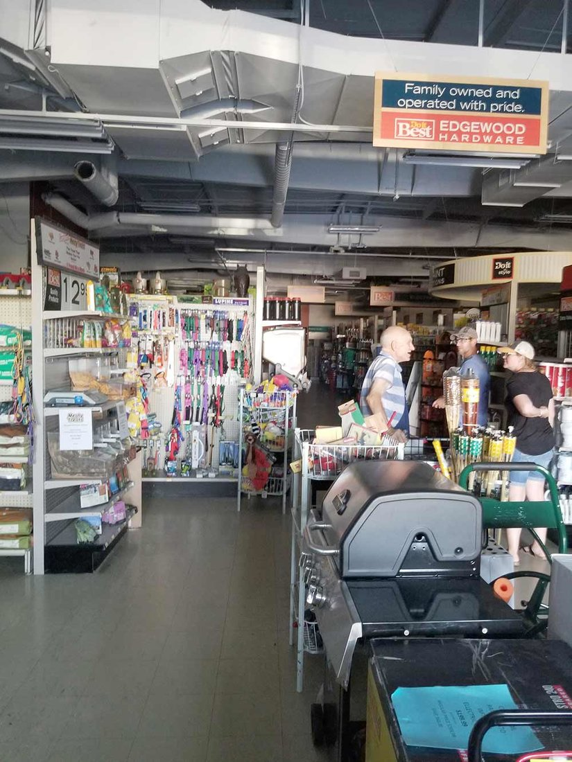 Edgewood Hardware stayed open even after the power went out, writing down purchases by hand until they got a mobile card reader after two days.