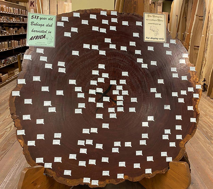 On display at Keim is a bubinga slab from Africa that is 513 years old.