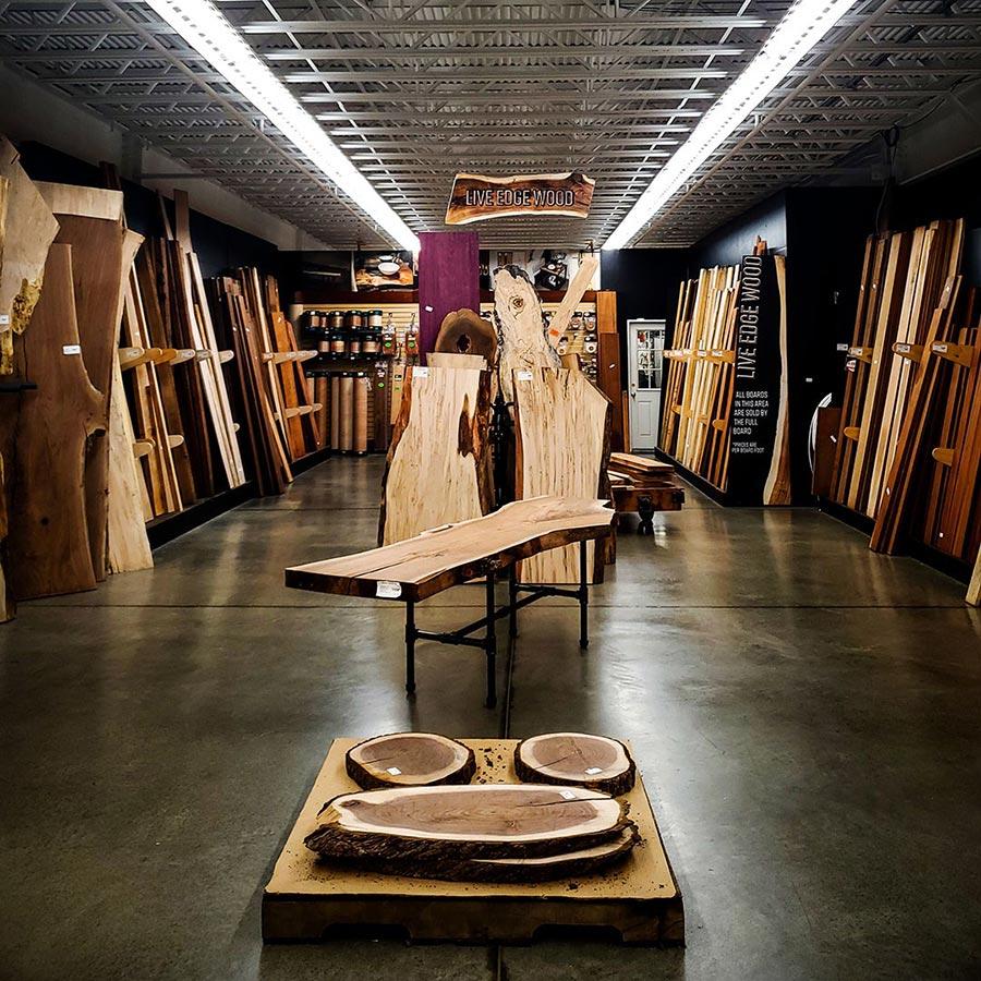 Live edge wood display at Hartville Hardware in Hartville, Ohio.