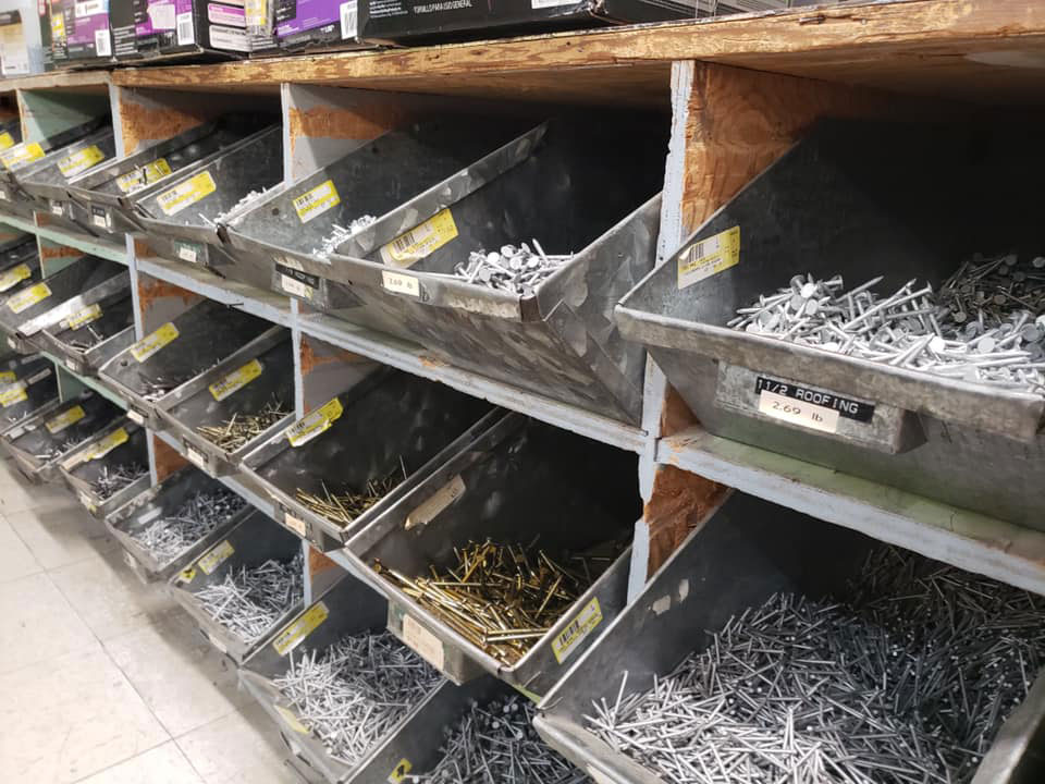 Nails are still sold in bulk at Miller's.